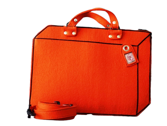 Suitcase - Orange Woolfelt Bag