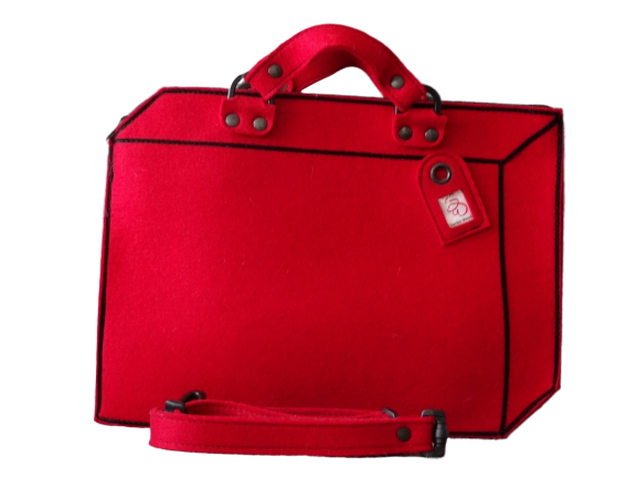 Suitcase - Red Woolfelt Bag