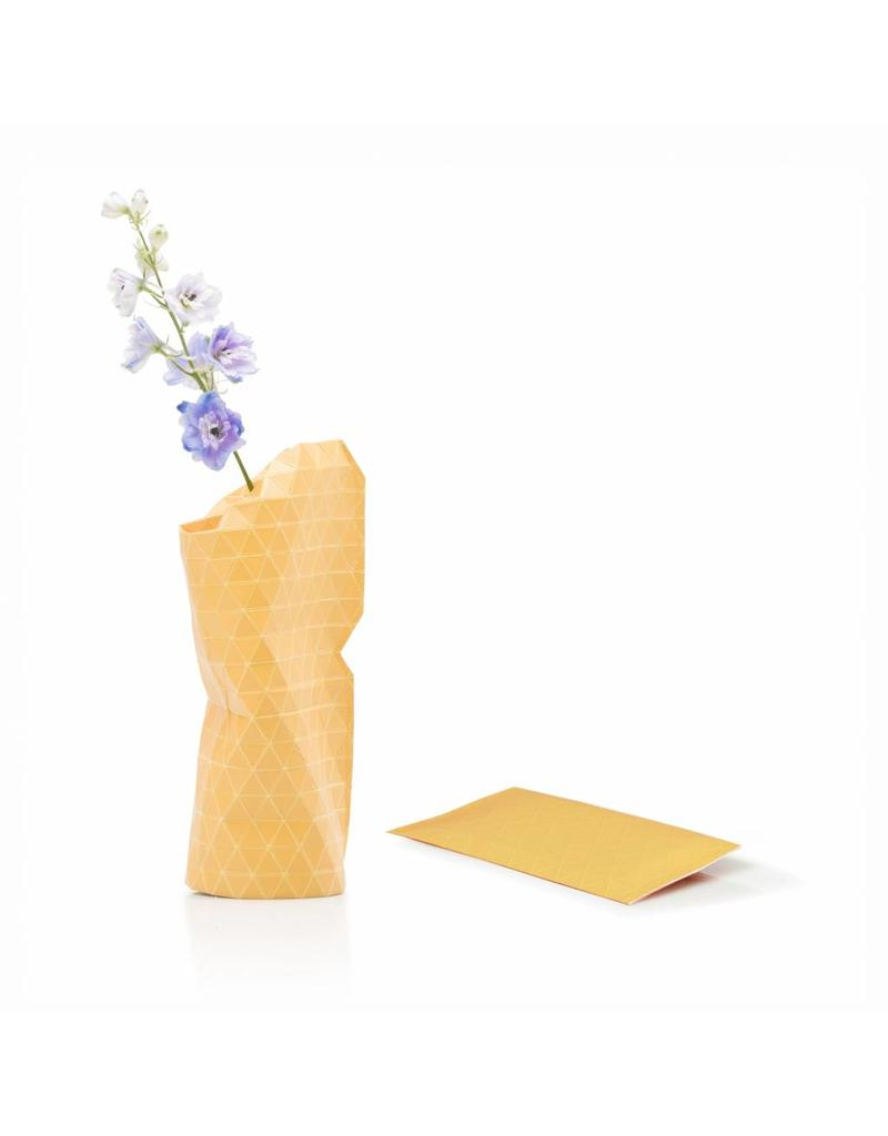 Small Paper Vase - Grid Yellow