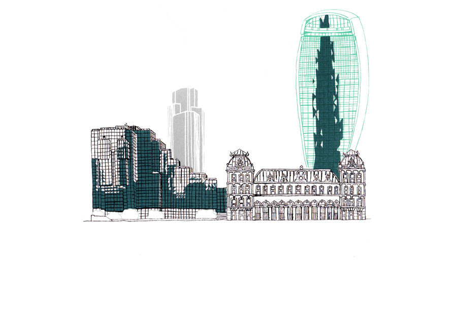 Walkie Talkie & Old Billingsgate - 24 x 34 cm