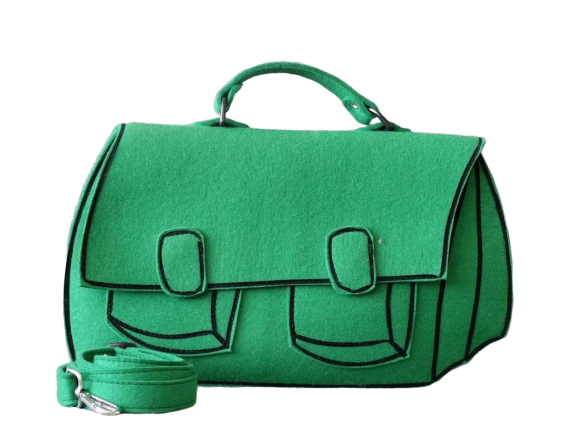 Satchel - Green Woolfelt Bag