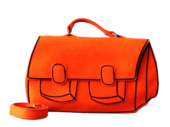 Satchel - Orange Woolfelt Bag