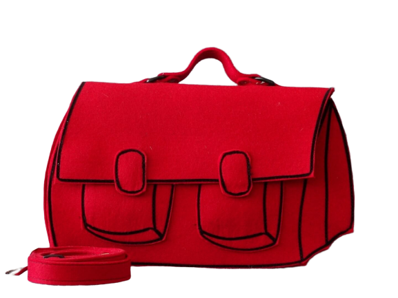 Satchel - Red Woolfelt Bag