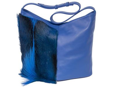 Hobo Bag - Royal Blue - with a Fan