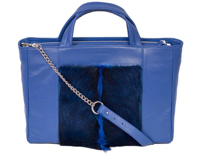 Portfolio Tote Bag - Royal Blue - with a Fan