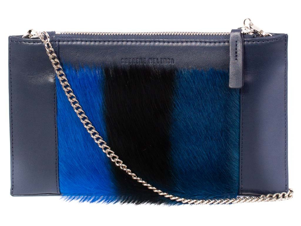 Navy Blue Clutch - with a Stripe