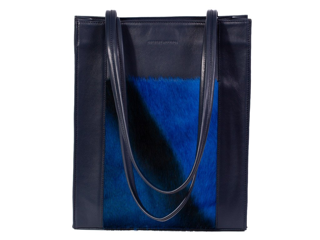 Navy Blue Tote Bag - with a Stripe