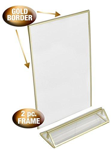 Phenomenal 4 Inch By 6 Inch Clear Acrylic Photo Frame Display Table Card Holder With Vertical Stand And 3Mm Gold Border Pack Of 6 Download Free Architecture Designs Jebrpmadebymaigaardcom