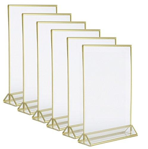 Admirable 4 Inch By 6 Inch Clear Acrylic Photo Frame Display Table Card Holder With Vertical Stand And 3Mm Gold Border Pack Of 6 Download Free Architecture Designs Jebrpmadebymaigaardcom