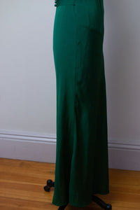 1930s Emerald Green Gown w/ Caplet