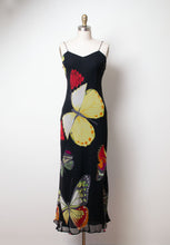 Load image into Gallery viewer, 1990s Chiffon Butterfly Print Dress