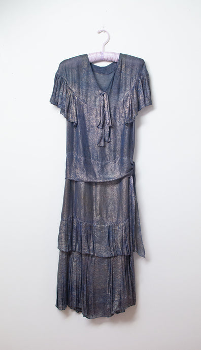 1920s Blue Lamé Dress | AS IS