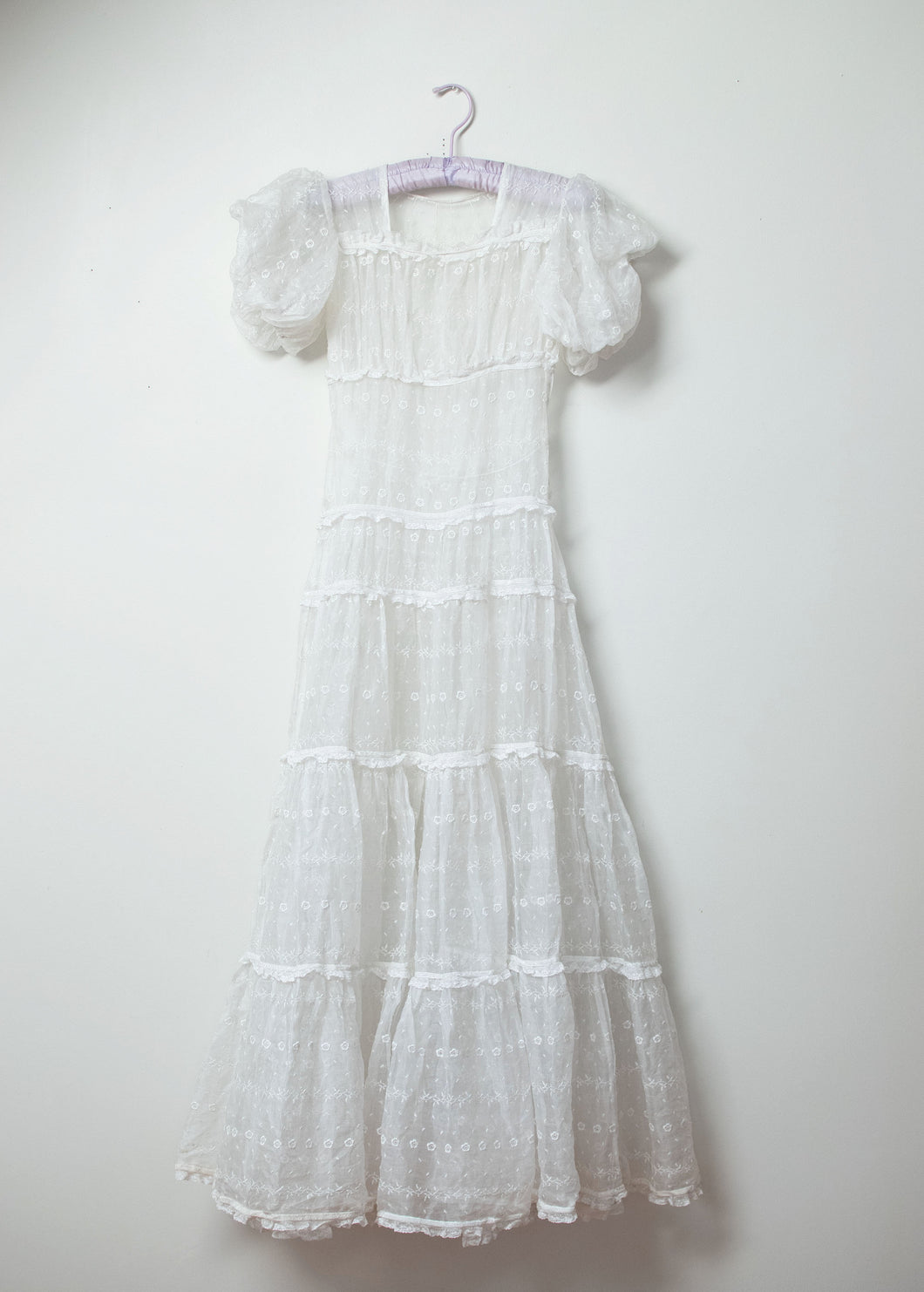 1930s Embroidered Organza Dress