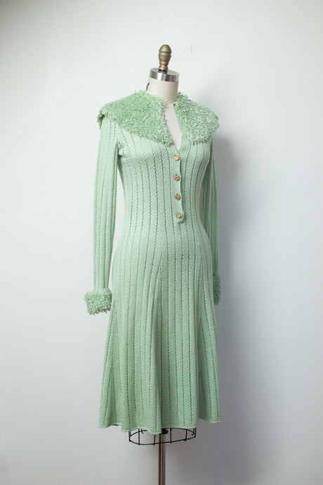 1970s Mint Looped Knit Dress