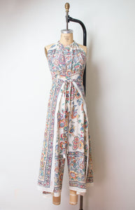 1970s Indian Cotton Wrap Jumpsuit