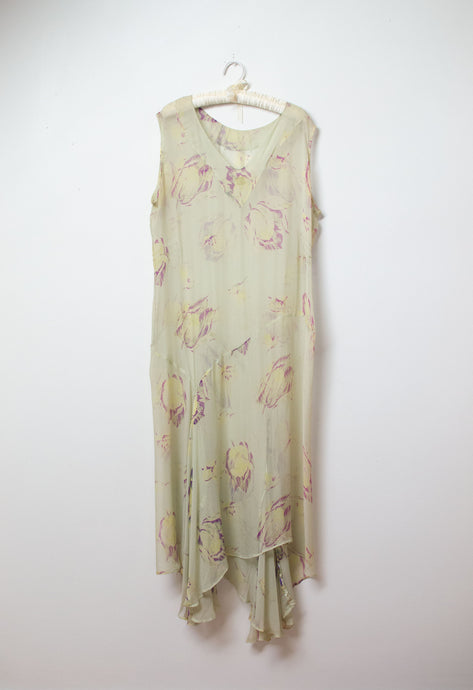 1920s Floral Print Chiffon Dress | AS IS