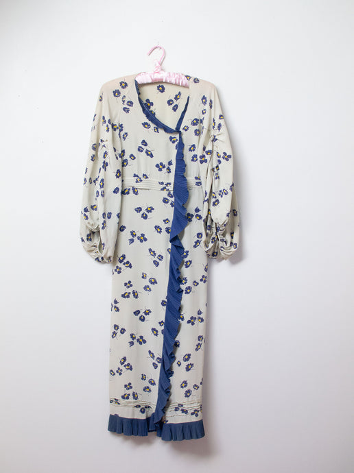 1930s Silk Floral Print Balloon Sleeve Dress | AS IS