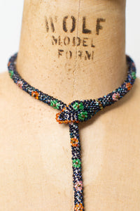 RESERVED Bead Crochet Snake Necklace | Antique Blue