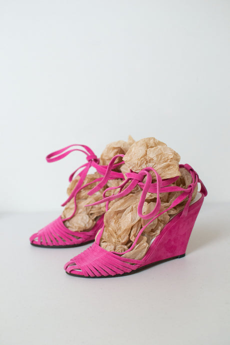 Shocking Pink Suede Lace Up Wedge Shoes | Robert Clergerie 7