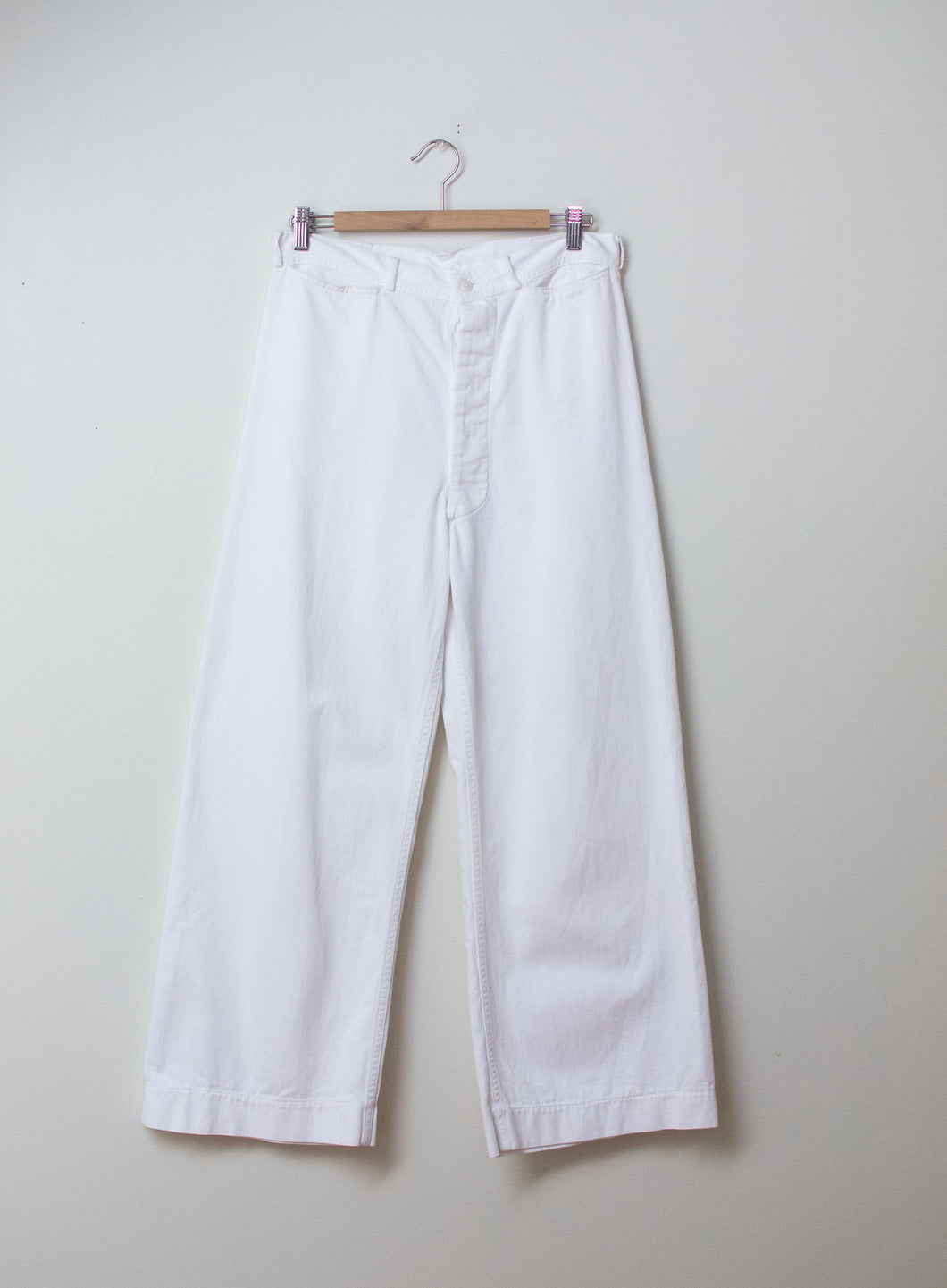 1940s White Sailor Pants | 30