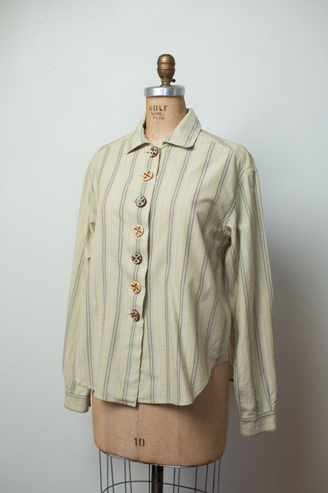 1990s Striped Shirt w/ Hand Painted Buttons | Romeo Gigli