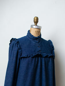 1980s Ruffled Denim Dress