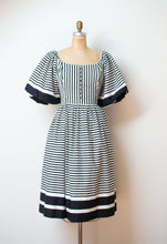 Load image into Gallery viewer, 1980s Black and White Striped Puff Sleeve Dress | Victor Costa