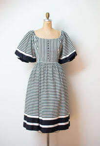 1980s Black and White Striped Puff Sleeve Dress | Victor Costa