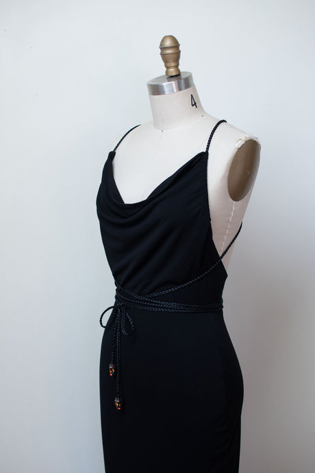 1990s Black Braided Strap Dress | Todd Oldham