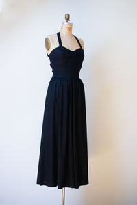 1990s Black Tie Back Halter Dress