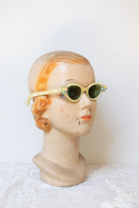 SALE 1950s Pearlized Sunglasses w Flower Accents
