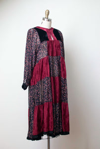 1970s Mixed Print Dress