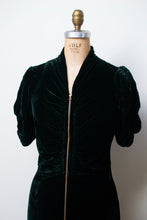 Load image into Gallery viewer, 1930s Green Velvet Dressing Gown | AS IS
