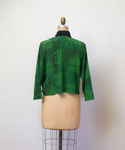 1990s Architectural Print Green Rayon Top