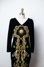 Load image into Gallery viewer, 1980s Velvet Celestial Dress