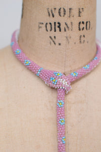 Bead Crochet Snake Necklace | Opalescent Pink