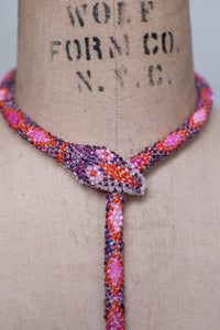 Bead Crochet Snake Necklace | Magenta