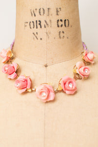 1950s Pink Rosebud Choker & Earrings Set