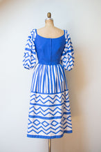 Load image into Gallery viewer, 1980s Blue and White Puff Sleeve Dress | Victor Costa