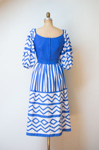 1980s Blue and White Puff Sleeve Dress | Victor Costa