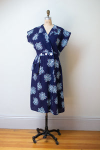 1940s Floral Print Seersucker Dress