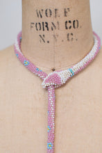 Load image into Gallery viewer, Bead Crochet Snake Necklace | Opalescent Pink