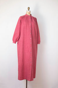 1970s Flannel Paisley Dusty Pink Dress | Marimekko