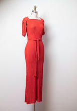 Load image into Gallery viewer, 1930s Tomato Red Textural Crepe Gown