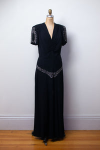 1940s Black Rayon Beaded Gown | AS IS