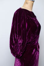 Load image into Gallery viewer, 1930s Plum Velvet Gown | Cold Shoulder Sleeves
