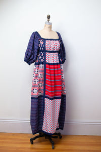 1970s Mixed Print Puff Sleeve Dress