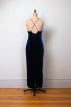 Load image into Gallery viewer, 1990s Midnight Blue Velvet Dress