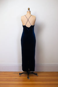 1990s Midnight Blue Velvet Dress