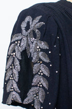 Load image into Gallery viewer, 1940s Black Rayon Beaded Gown | AS IS